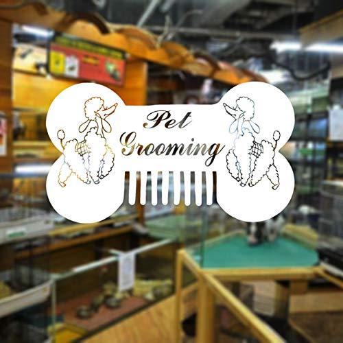 ZHOUZXY Peluquería para Mascotas Salón Pegatina De Pared Vinilo Perro Caniche Peine Hueso Decoración Interior Tienda De Mascotas Calcomanías para Ventanas Arte Murales Extraíbles
