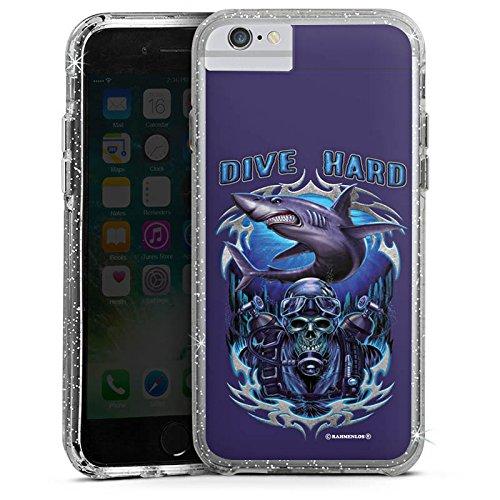 Apple iPhone 6 Bumper Hülle Bumper Case Glitzer Hülle Hai Shark Skull Bumper Case Glitzer silber