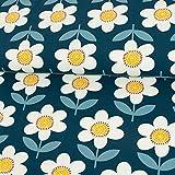 Stoffe Werning Baumwolljersey große Blumen Retrolook Marine Damenstoffe Modestoffe - Preis Gilt für 0,5 Meter