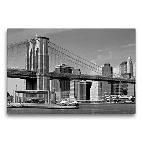 Calvendo Premium Textil-Leinwand 75 cm x 50 cm quer, Brooklyn Bridge Monochrom | Wandbild, Bild auf Keilrahmen, Fertigbild auf echter Leinwand, Leinwanddruck: Manhattan Skyline Orte Orte -