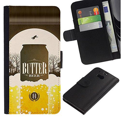 UPPERHAND ( Non Per HTC ONE Mini 2) Stile Immagine Portafoglio Carte PELLE FLIP TPU CUSTODIA CASE PROTEZIONE COVER IN GUSCIO Per HTC One M8 - birra lattina bottiglia dorata annuncio manifesto