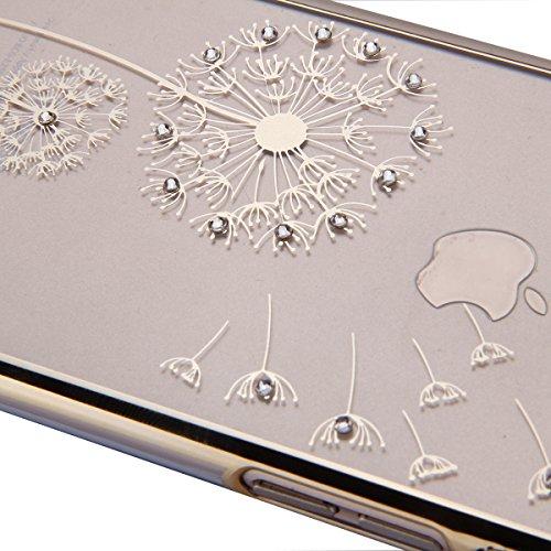 Etsue Dur Clear PC Coque pour iPhone SE/5/5S, Luxe Bling [Pissenlit Argent] Plaquer par Galvanoplastie Diamant Glitter Cristal Ttransparent Coquille Dure Aérien Protecteur Case étui pour iPhone SE/5/5 Pissenlit Dorée