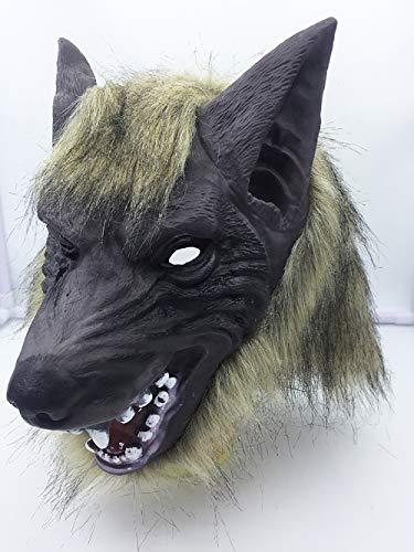 QETU Halloween Tier Maske, Kostüm Party Silikon Wolf Kopf Maske (Black Wolf),E