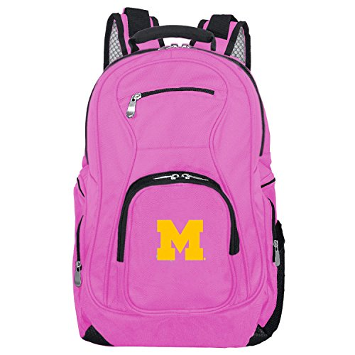DENCO NCAA Michigan Wolverines Voyager Laptop Backpack, 19-inches, Pink -