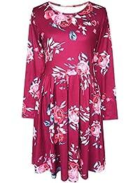 09a4054febee7 Hibote Vestidos Manga Larga Mujeres Blusas Largas Otoñales Vestidos Camisas  Florales Adelgazar Vestidos Grandes Oscilación Cintura