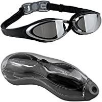 Occhialini da nuoto, EveShine occhialini da nuoto specchiati con lenti trasparenti anti appannamento, occhiali da nuoto a tenuta stagna misura comoda per adulti, bambini, donne e ragazzi - Neri