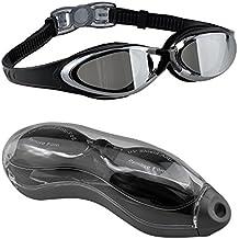EveShine Schwimmbrille verspiegelte Taucherbrille mit kristallklarem Anti-Nebelglas, Taucherbrille mit wasserdichter bequemer Passform für Erwachsene, Kinder, Männer und Frauen - Schwarz
