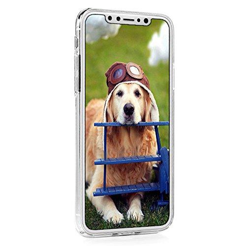 Lanveni Handyhülle für iPhone X Hülle Etui Protective Case Cover PC Hardcase Plastik Schutzhülle Handytasche mit Bunte Muster Cover Design (1x PC Hülle +1 x Kondensatorstift + 1 x HD Schutzfolie) Farbe 1