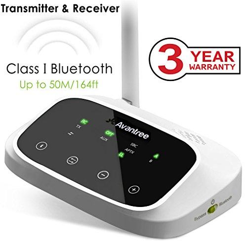 [2016 Version] Avantree Oasis HOHE REICHWEITE Bluetooth Transmitter und Receiver, Sender und Empfänger, aptX Low Latency, Optisch RCA 3.5mm Audio, VOICE & DISPLAY, BYPASS für TV Lautsprecher [3 Jahre Garantie]