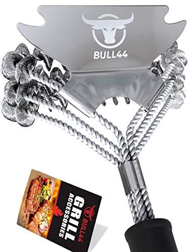 Bull44 BBQ Grillbürste V2 360° mit Schaber - Borstenfrei - ohne Borsten - aus Edelstahl - Dicker Langer Griff für sichere schnelle Grillreinigung - Grillzubehör