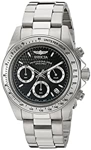 Invicta Men's Speedway Quartz Watch with Black Textured Dial Chronograph Display and Silver Stainless Steel Bracelet 9223