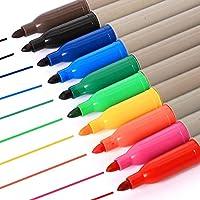 CSbrands Permanent Marker Assorted Colours, Fine Point Pen, 12 Pack