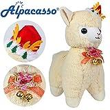 """Alpacasso 14 """"Alpaca Blanca de Peluche, Lindo Juguete de Peluche Suave para el día de Navidad. (Yellow)"""