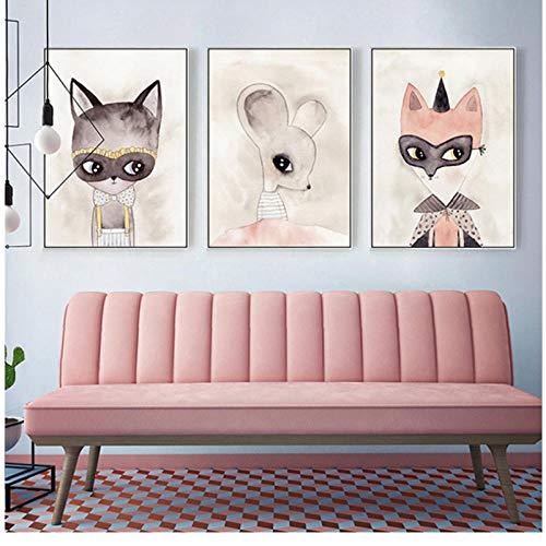 qiumeixia1 Moderne Rosa Niedlichen Cartoon Tiere Engel Mädchen Wandkunst Leinwand Malerei Fox Poster Kindergarten Drucken Bild Kind Baby Room Home Decor50 * 70 cm - Fox-bild Baby