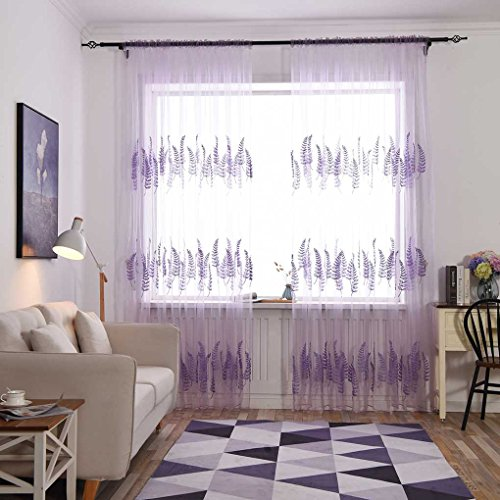 Lorjoy lavanda ricamo tulle trasparente tende camera da letto cucina cortina home decor screening drapery tende organza