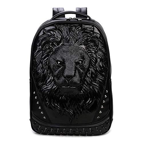 SNOWWOLF Ursprüngliche Neue Kreative Umhängetasche Kühle Persönlichkeit Löwenkopf 3D Rucksack PU Laptop Tasche Outdoor Reisetasche,C