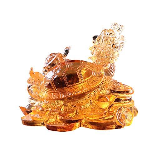 Feng Shui Farbige Glasur Drache Schildkröte Reichtum Schutz Statue Home Decor Symbol der Fruchtbarkeit Langlebigkeit Kraft, Glas, gelb