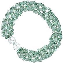 Lisa: pulsera de perlas de perlas de cuentas tejido técnica y cristales verde