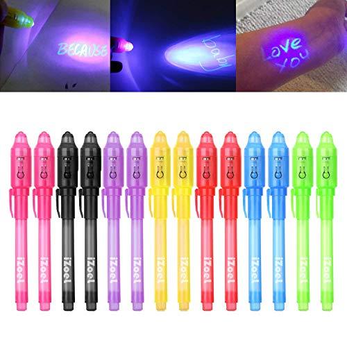 iZoeL Lot de 14 crayons à encre invisible avec lumière UV Cadeau d'anniversaire idéal pour les enfants 7 couleurs assorties - Version Allemande