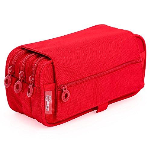 Colorline 58311 - Astuccio Portapenne / Portatutto Triplo con Ampie Sezioni Interne, Custodia Multi Purpose da Materiale Scolastico. Colore Rosso, Misure 22 x 11 x 9 cm