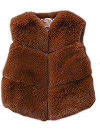 FOLOBE Los niños de otoño e Invierno Faux Fur Chalecos Los nuevos Cabritos imitación Fox Pelo Gilets Abrigos para Las…