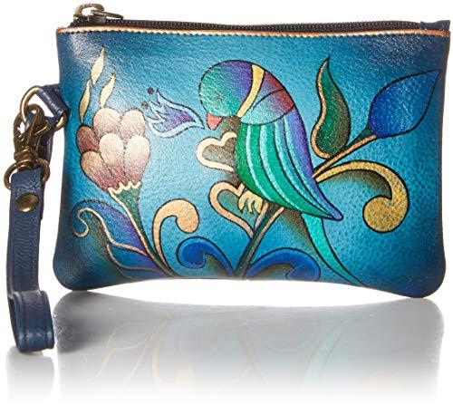 Anna by Anuschka Hand Painted Leather Women's Coin Purse, handgemalt, Leder, Damen, Münzen, Portemonnaie, Portuguese Parrot Denim, Einheitsgröße -