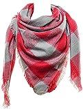 Mevina XXL Damen Schal Kariert übergroßer quadratisch Deckenschal Karo Tartan Streifen Plaid Muster Oversized Fransen Poncho Pink T2453