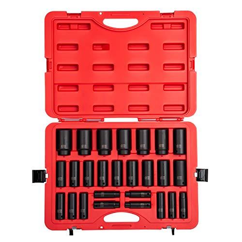 SUNEX 2646 1/5,1 cm Drive métrique Douille à impact Ensemble, métrique, Standard, 6 pans, Cr-Mo, 10 mm - 36 mm, lot de 26