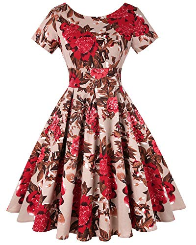 MINTLIMIT Damen Vintage 1950s Retro Rockabilly Abschlussbal Kurze Ärmel Faltenrock (Floral Rot,Größe L) Abschlussbal