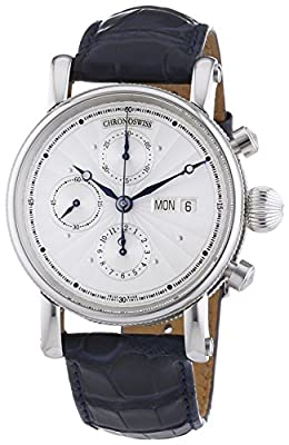 Chronoswiss Sirius Day Date Men's Automatic Watch with Silver Dial Chronograph Display and Black Strap 7543K