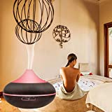 iBazal Essential Oil Diffusers Aromatherapy Aroma Diffusers Scented Oil diffusers Ultrasonic Humidifier Cool Mist Humidifier Air Purifier 500ml, 7 Color LED/Timer Setting/Waterless Auto-off for Home, Office,Yoga, Spa - Black