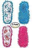 DIKETE®, 2paia di pantofole in microfibra, per la pulizia dei pavimenti, con strato rimovibile, ciabatte per spolverare, per la casa, il bagno, la cucina, l'ufficio, colori blu e rosa