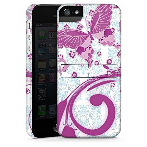 Apple iPhone 5s Housse étui coque protection Rose vif Papillon Papillon rose CasStandup blanc