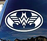Logo, pegatina para el coche, ventana, puerta, ordenador portátil, iPad, tabletas,monopatín de Batman y Wonder Woman. 12 centímetros