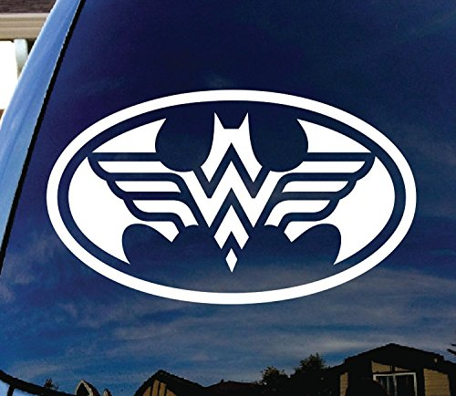 StickerBorough Batman und Wonder Woman 12,7 cm Logo Aufkleber für Auto, Fenster, Tür, Laptop, iPad, Tablets, Skateboard