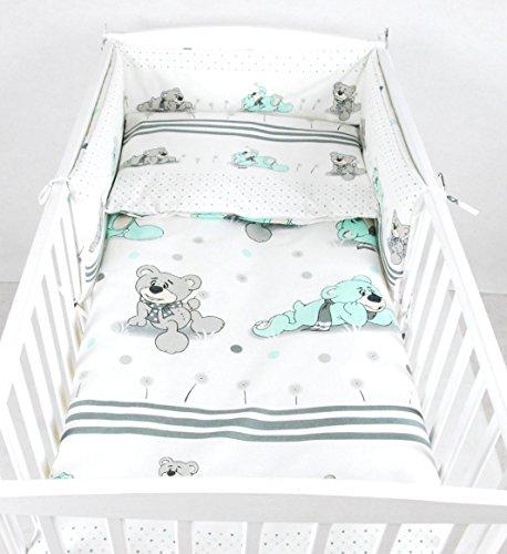 BABYLUX NESTCHEN 210 x 30 cm Nest Bettumrandung mit Kopfschutz (68. Bär Träumer Minze) (Bettwäsche Kinderbett)