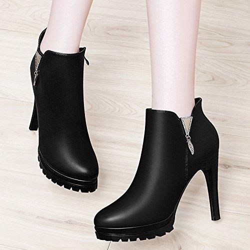 e Schuhe Zip Damen Boot runden Kopf Fein mit weiblichen Stiefel der metallischen Seite dekorative Wasserdicht Taiwan weibliche Schuhe schwarz 35 (Clark Schuhe Weiblich)
