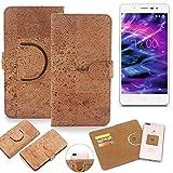 K-S-Trade Schutz Hülle für Medion Life S5004 Handyhülle Kork Handy Tasche Korkhülle Schutzhülle Handytasche Wallet Case Walletcase Flip Cover Smartphone