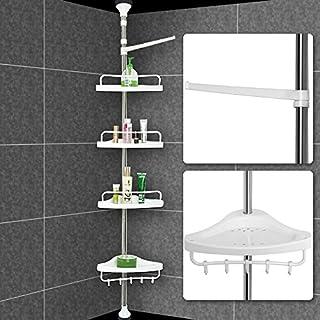 Deuba Eckregal mit 4 Ablagen Teleskopregal für Bad bis max. 304 cm höhenverstellbar Badregal silber Duschecke