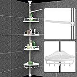 Deuba 102564, Deuba Shower Rack Corner Shelf Rack - 155-304cm - Adjustable Stainless Steel Telescopic Shelf Rack with Hooks (DIY & Tools)