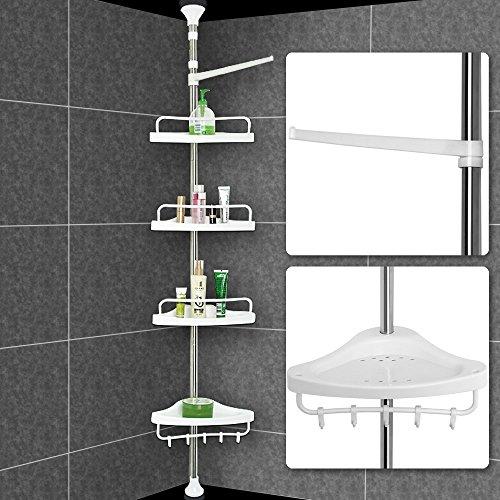 Deuba Eckregal mit 4 Ablagen | Teleskopregal für Bad | bis max. 304 cm höhenverstellbar | Badregal silber | Duschecke