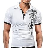 AIMEE7 Hommes T-Shirt à Manches Courtes Impression Polo Sport T-Shirt Personnalité Chemise Mode Col Rond Tee Shirt Tops Clearance Big promotion été Vêtements Homme (Blanc, L)