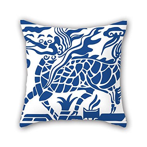 loveloveu Chinesischer Stil Blau und Weiß Porzellan Weihnachten kissenrollen 45,7x 45,7cm/45von 45cm beste Wahl für Ihre Jungen Pub Esszimmer Home Office Weihnachten mit Twin Seiten