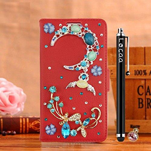 Locaa(TM) Für Alcatel OneTouch Pop 4S Pop4S 3D Bling Case 3 IN 1 Schutzhülle Schale Einfach For Phone Shell Cover Accessory Einzigartig Bumper Hülle Abdeckung [Bunt 2] Mondschein - Red