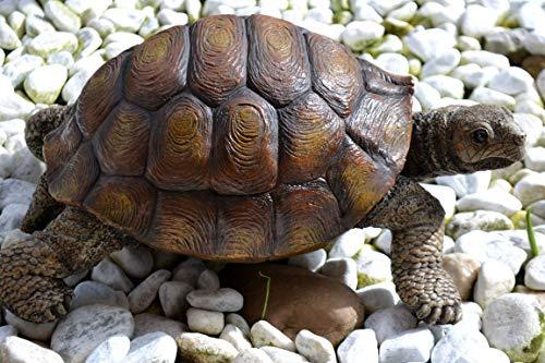 Schildkröte- große Schildkröte aus Kunstharz-34 cm- täuschend echt-stabile Ausführung-wetterfest, für Balkon und Garten