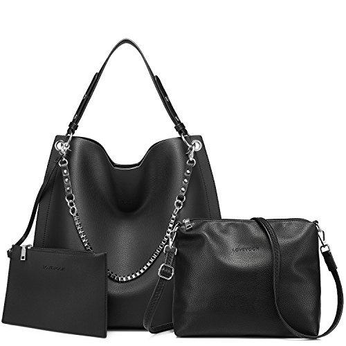 Damen Handtaschen Umhängetasche Geldbeutel Schultertasche Tote Handtaschen Set 3 Stück groß große Kapazität Schwarz