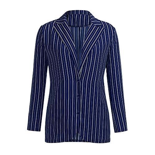 MIRRAY Damen Mode Gestreift Langarm-Mantel Revers V-Ausschnitt Casual Jacken Tops (Roman Schild Kostüm)