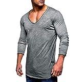 BaZhaHei Herren Langarm Männer T-Shirt Slim Fit V-Ausschnitt Langarm Muscle Cotton Casual Tops Bluse Shirts Freizeit Einfarbig T-Shirt