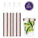 TOROTON 350ml Copas de plástico Desechables, 50 Piezas Vasos de plástico Duro Transparente para Celebraciones de Boda - Oro Rosa