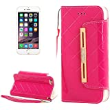 SUN-Cases & Covers Cartera estilo cuero con diamantes incrustados Lanyard &ranuras para tarjetas y dinero de bolsillo para iPhone 6 &6S ( Color : Magenta )